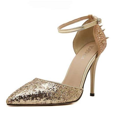 ankle wrap high heels classical gold sequins rivets rhinestone trim ankle wrap
