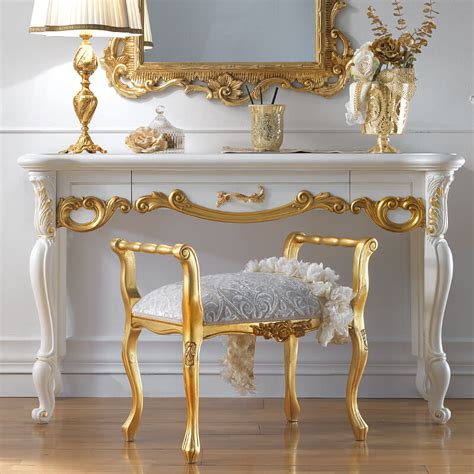 Mirrored Wall Sconces For Candles Ornate White And Gold Leaf Italian Dressing Table