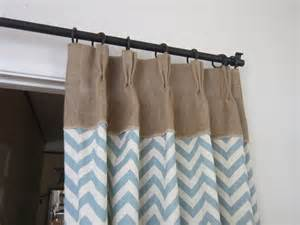 Burlap Drapes And Curtains Burlap Drapes With Chevron Print Chevron Decor By Pillowpuff