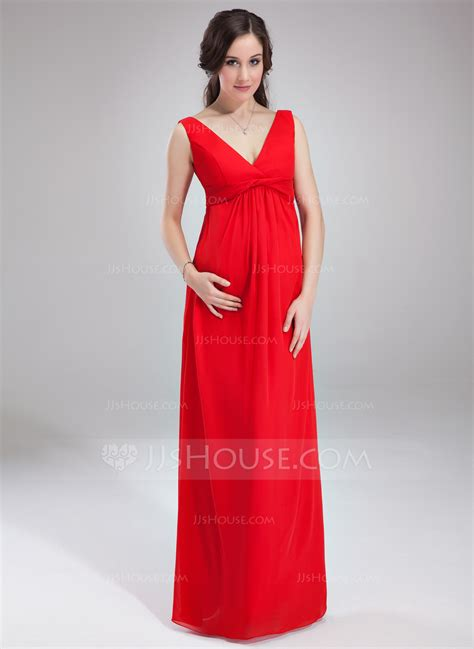 Maternity Bridesmaid Dress by Empire V Neck Floor Length Chiffon Chiffon Maternity
