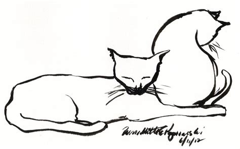 Two Cats Outline by Ink Drawing Of Two Cats Archives The Creative Cat