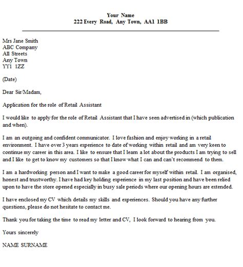 Retail Assistant Cover Letter Example   icover.org.uk