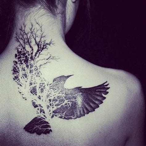 flying bird and tree of on back