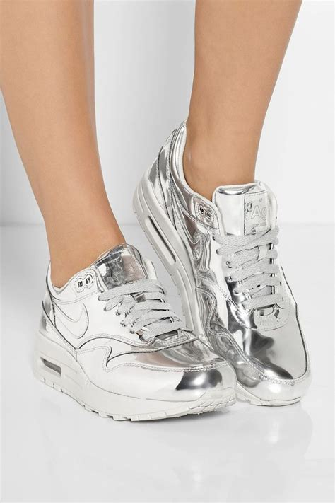 nike silver sneakers metallic moment high shine finishes lend lustre to fall