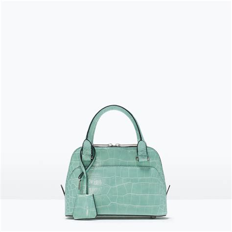 zara blue mini bag zara croc mini city bag in blue sea green lyst
