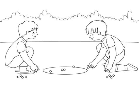 dibujos niños jugando metras el juego de las canicas dibujo para colorear e imprimir