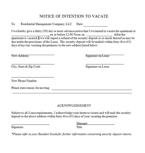 47 Eviction Notice Templates Sle Letters Free Template Downloads Template Of Notice To Vacate Rental Property