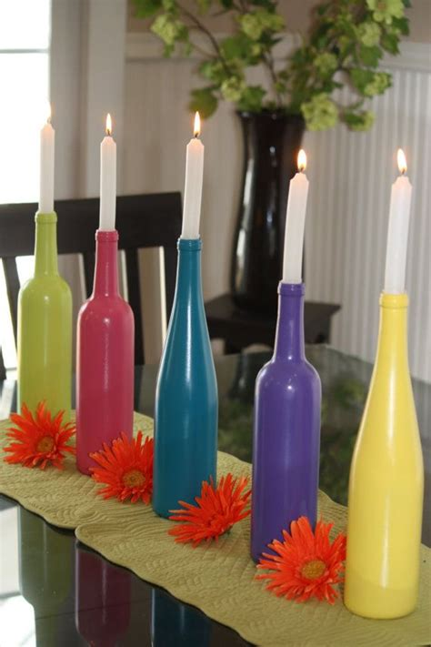 Wine Bottles As Vases by Painted Wine Bottle Vase Or Candleholder By Dandibycathy