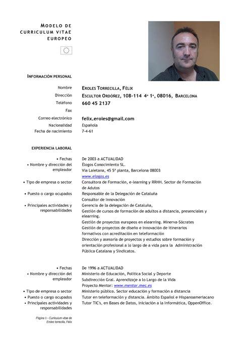 Modelo Curriculum Vitae Europeo Español Berneduri En Recerca De Feina