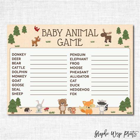 printable baby animal game baby animal name game baby shower printable woodland baby