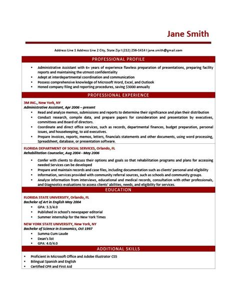 Best Resume Font Size For Calibri by Professional Profile Resume Templates Resume Genius