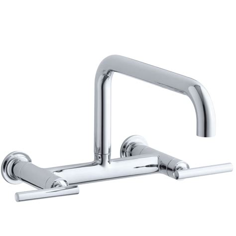wall mount kitchen sink faucet kohler purist two wall mount bridge kitchen sink faucet with 13 7 8 quot spout reviews wayfair