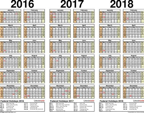 2016 2017 2018 calendar 4 three year printable pdf calendars