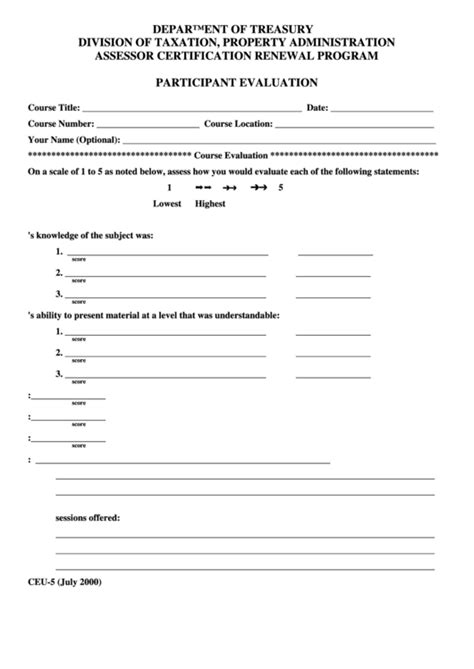 Form Ceu 5 Participant Evaluation Form Printable Pdf Download Participant Evaluation Form Templates