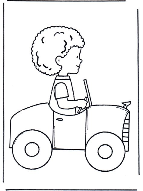 little boy in car children coloring page