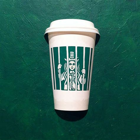 illustrator draws  starbucks cups  creatively