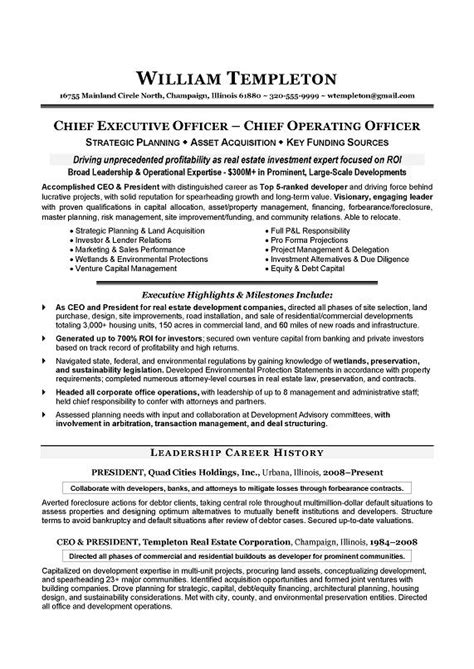 Ceo Resume 2016 Ceo Resume Exle Writing Resume Sle Writing