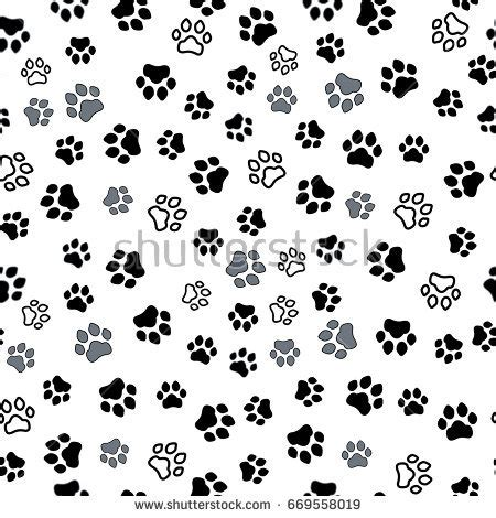 cat paper pattern and marks distribution paw print seamless traces cat textile stock vector