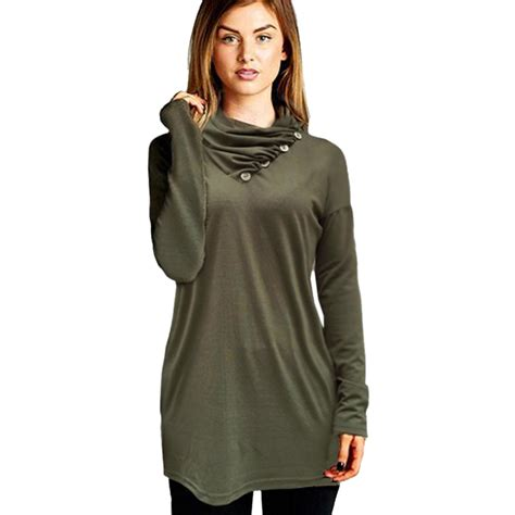 Top Blouse tops for tunic green cowl blouse draped shirt blouse clothing 2016 tops