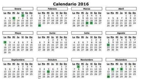 Calendario Laboral 2016 Por Semanas Calendario Laboral De 2016 Todos Los Festivos Y Puentes