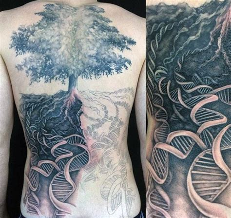 dna tree tattoo designed black and white big lonely tree with