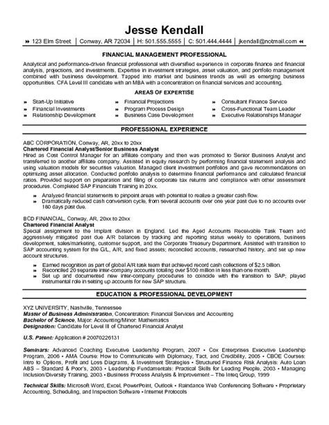 financial analyst resume template exle chartered financial analyst resume free sle