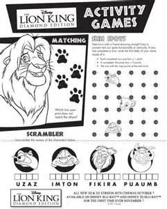 lion king activity sheet
