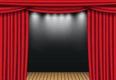 teatro tende a strisce le tende teatro con copre illustrazione vettoriale