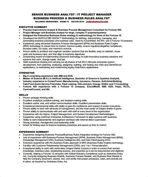 Business Analyst Resume Template Word business systems analyst resume template