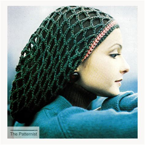 pattern for snood hair net vintage 70s snood slouch hat hair net accessory crochet
