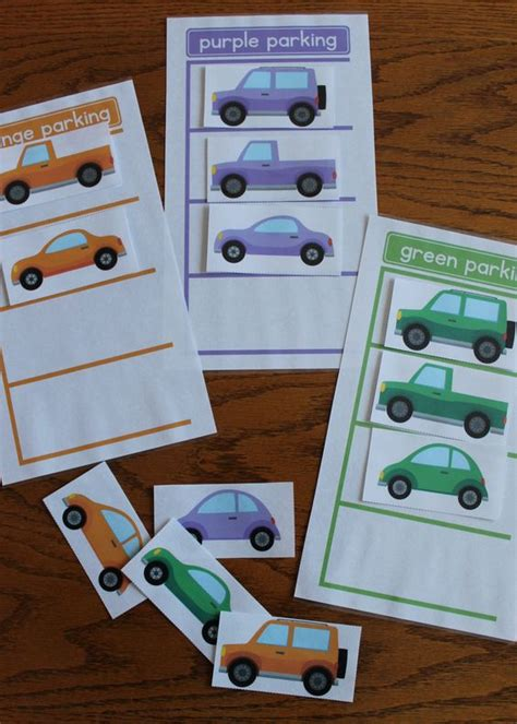 transportation color matching activity parking lot of