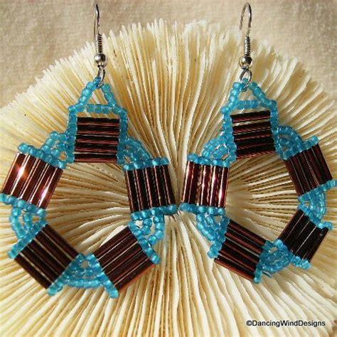 Handmade Earring Patterns - handmade copper bugle bead and turquoise seed bead hoop