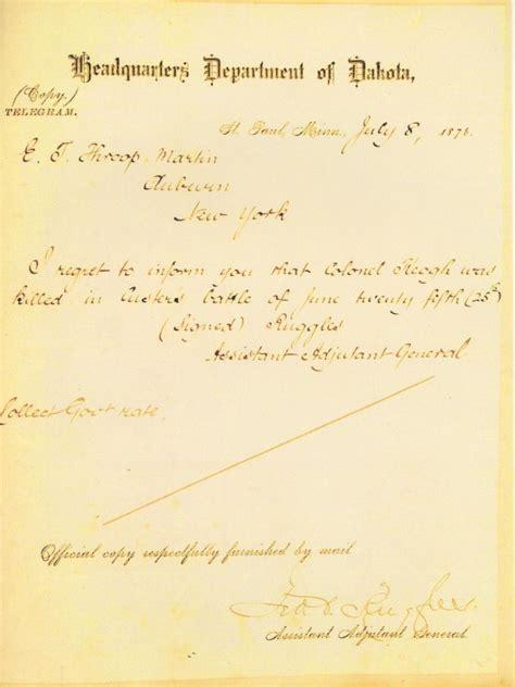 file telegram informing death of myles keogh jpg wikipedia
