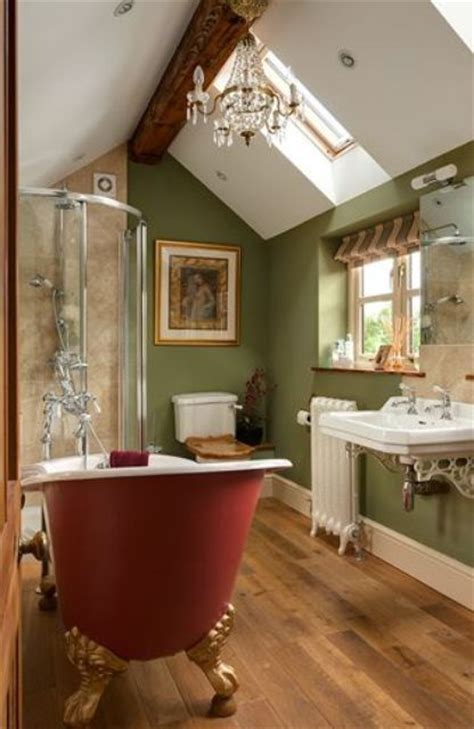 Wonderful Red Couch Living Room Ideas #10: 22-Sage-green-bathroom-with-a-red-free-standing-bathtub.jpg