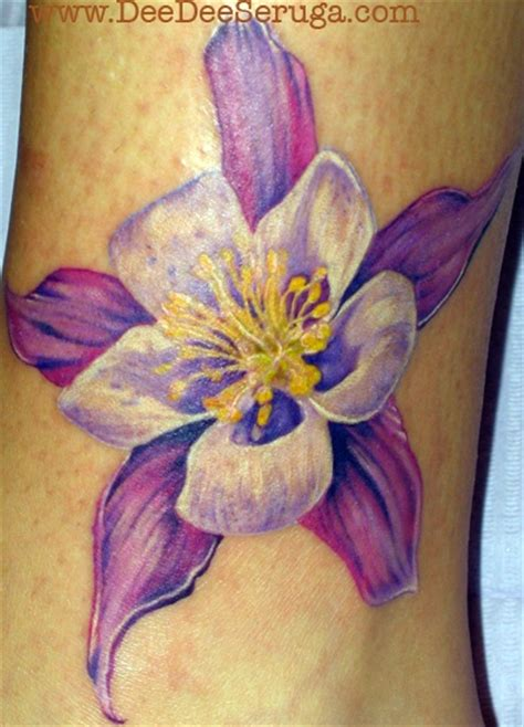 columbine tattoo designs purple flower tattoos lilies ideas