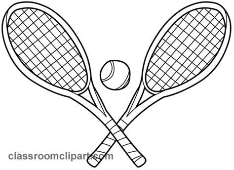 Racket Outline by Sports Two Tennis Racquets 01 Outline Classroom Clipart