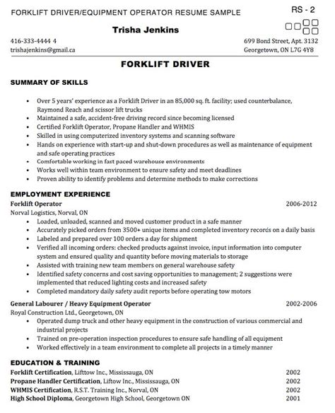 Forklift Operator Resume Sle Http Exleresumecv Org Forklift Operator Resume Sle Forklift Driver Resume Template Exle