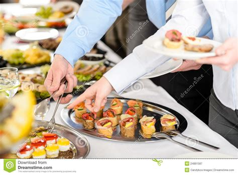 snacks buffet at business company meeting stock image