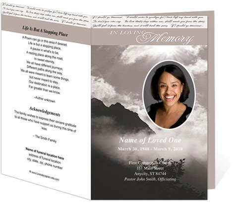 funeral bulletin template printable funeral bulletins template outdoor theme
