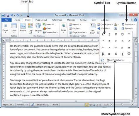Word Document Symbols List