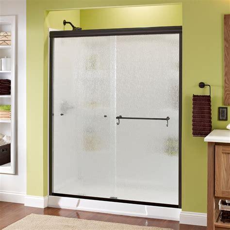 Rainx On Shower Doors Delta Portman 60 In X 70 In Semi Frameless Sliding Shower Door In Bronze With Glass