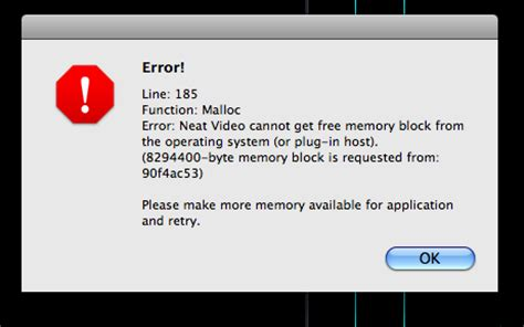final cut pro error out of memory error message about unavailable memory block when