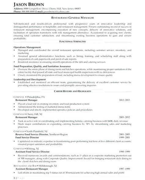 Catering Manager Resume by Catering Manager Resume Tomyumtumweb
