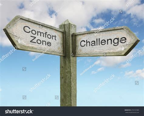 comfort zone funny comfort zone challenge sign concept stock photo 276157385