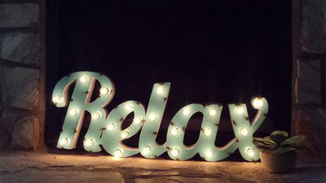 Light Up Turquoise Metal Relax Marquee Sign Light Up Sign