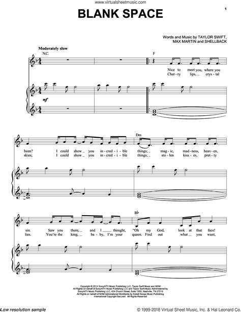 tutorial piano blank space swift blank space sheet music for voice and piano