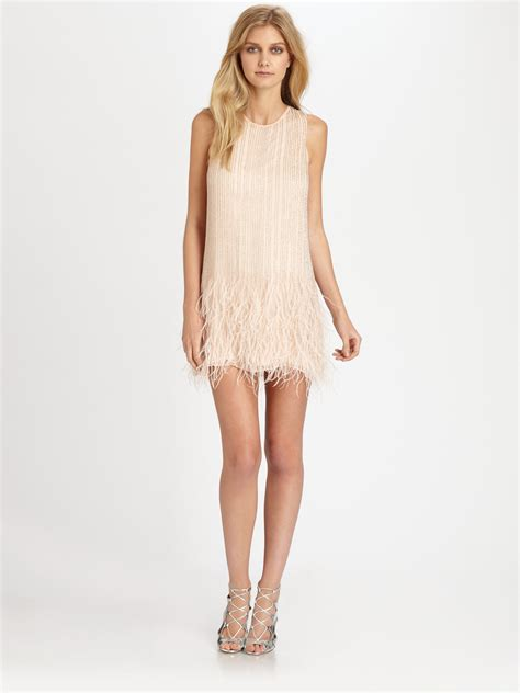 beaded feather dress allegra beaded silk feather dress in lyst
