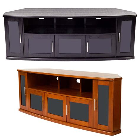 Corner Tv Cabinets With Glass Doors Plateau Newport Series Corner Wood Tv Cabinet With Glass Doors For Up To 90 Inch Screens Black