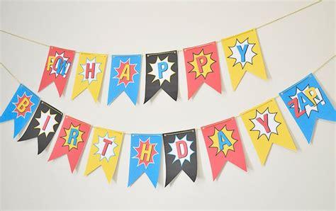 printable happy birthday superhero banner superhero happy birthday banner diy superhero party