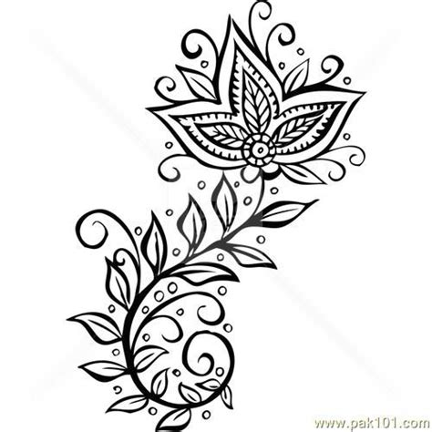 drawn mehndi henna design pencil and in color drawn